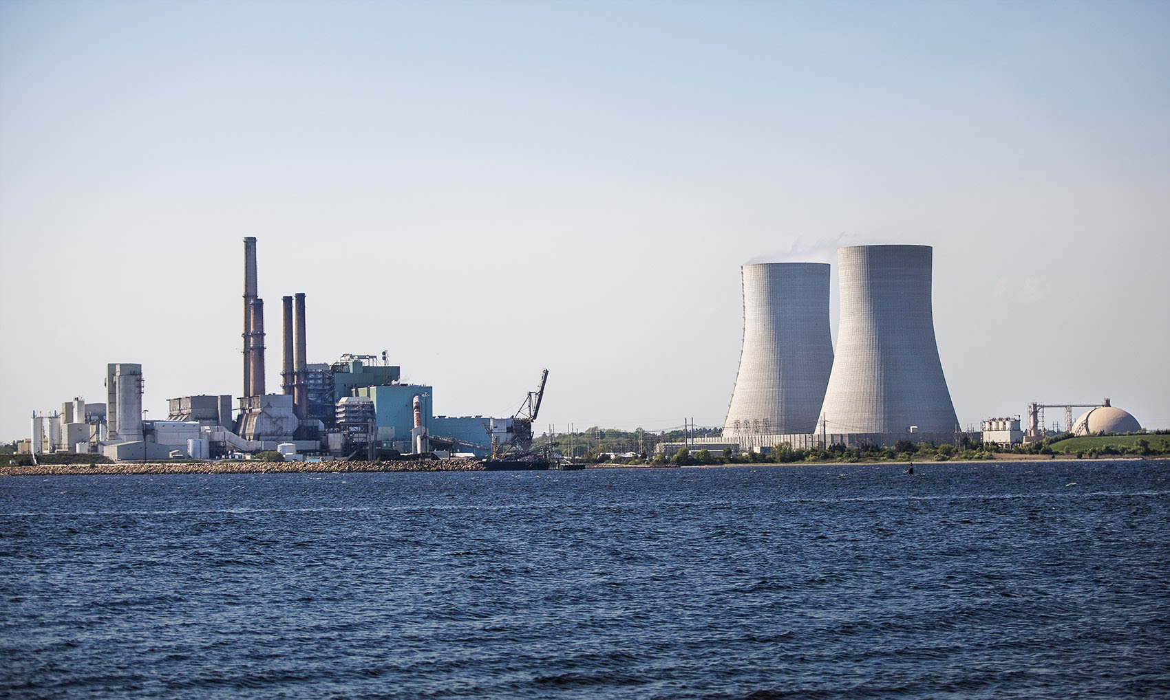 The coal-burning Brayton Point Power Station in Somerset, Mass. from across the Taunton River. (Jesse Costa/WBUR)