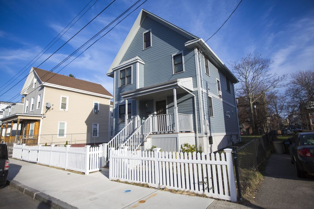 The latest single family house to be built by the Dudley Street Neighborhood Initiative's community land trust, on North Avenue. (Jesse Costa/WBUR)