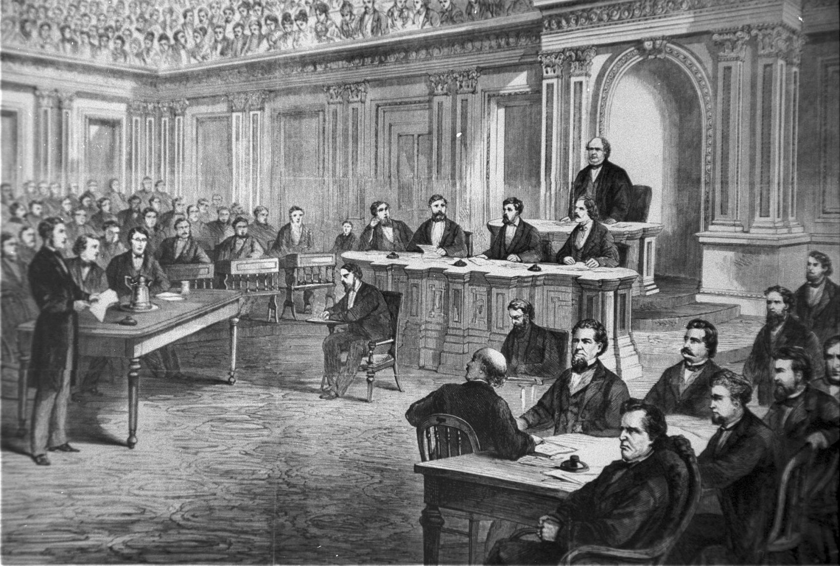 An engraving showing the impeachment trial of President Andrew Johnson in the Senate on March 13, 1868. (Library of Congress)