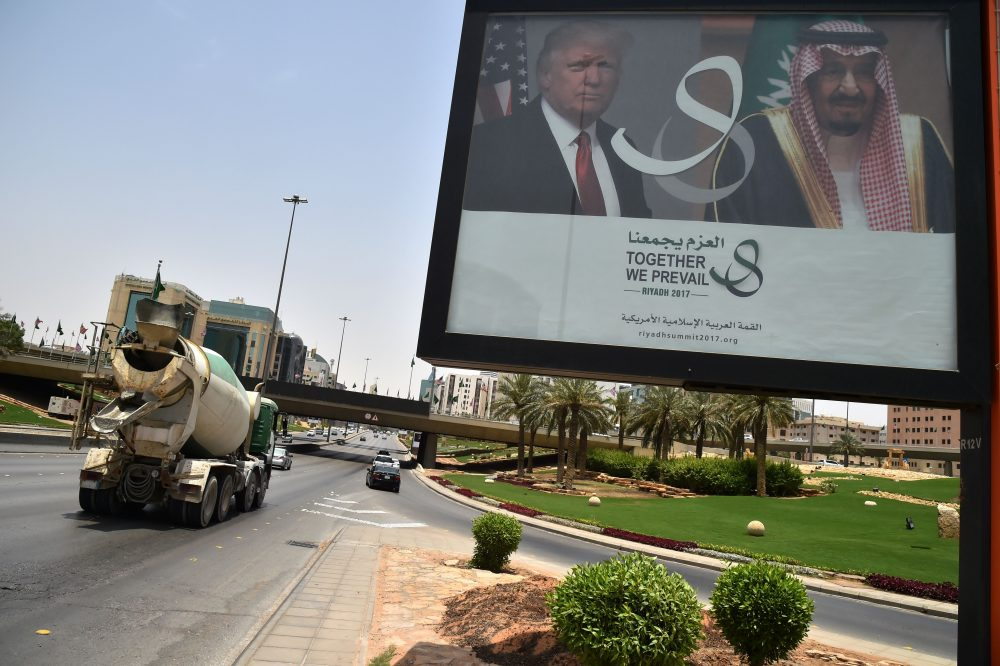 A billboard bearing portraits of President Trump and Saudi Arabia's King Salman is seen on a main road in Riyadh, on May 19, 2017. (Giuseppe Cacace/AFP/Getty Images)