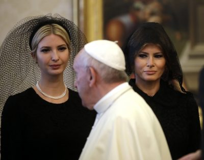 Pope Francis walks past Ivanka Trump, left, and First Lady Melania Trump on the occasion of the private audience with President Trump, at the Vatican, Wednesday, May 24, 2017. (Alessandra Tarantino, Pool/AP)