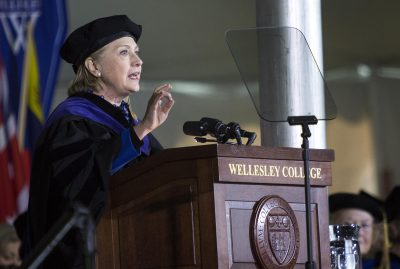 Hillary Clinton delivered the commencement address Friday at her alma mater of Wellesley College. (Robin Lubbock/WBUR)