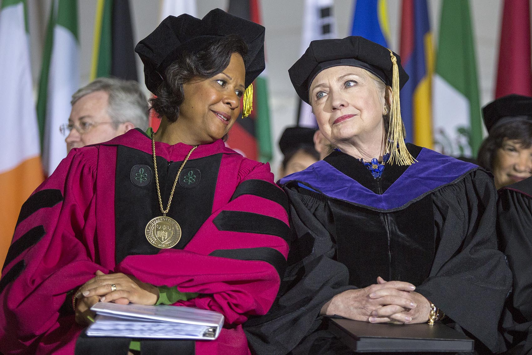 without naming names hillary clinton talks trump at wellesley