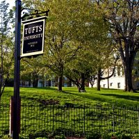 A Tufts University sign on the school's campus (Steve McFarland/Flickr)