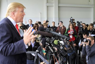 "For many of our fellow citizens in the Age of Trump, ignorance really is bliss -- and widespread, writes Rich Barlow. Pictured: Donald Trump, then a possible 2012 presidential candidate, on April 27, 2011 in Portsmouth, N.H. There, Trump said he was ""very proud"" to have forced the White House's decision to release President Barack Obama's birth certificate. (Jim Cole/AP)"