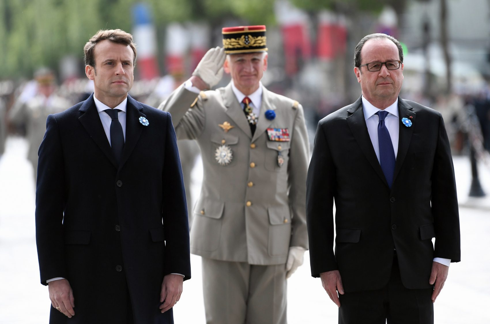 Can the new president bring change to a country where intolerance is very much alive? asks Régine Michelle Jean-Charles. Pictured: French President-elect Emmanuel Macron, left, an current President Francois Hollande, right, attend a ceremony to mark the end of World War II at the Arc de Triomphe in Paris, Monday, May 8, 2017. Macron defeated far-right leader Marine Le Pen handily in Sunday's presidential vote, and now must pull together a majority for his year-old political movement by mid-June legislative elections. (Stepahne de Sakutin, Pool via AP)