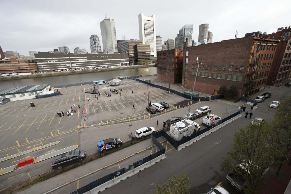 The site of General Electric's new headquarters is seen prior to Monday's groundbreaking ceremony. (Michael Dwyer/AP)