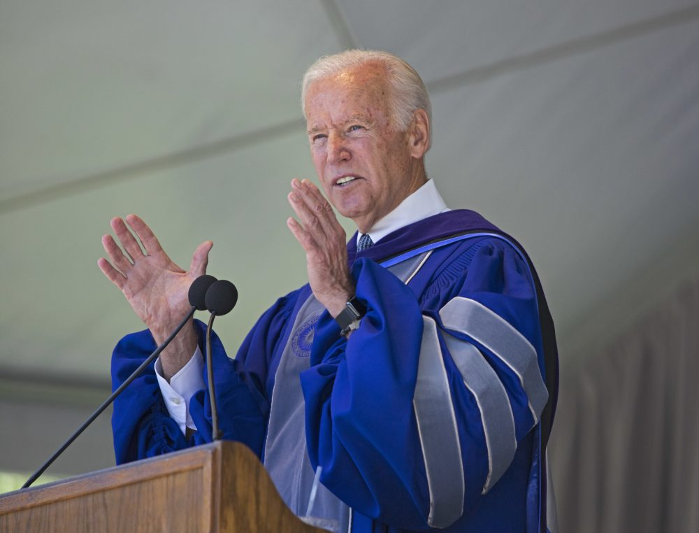 Former U.S. Vice President Joe Biden speaks during Colby College commencement ceremonies in Waterville, Maine, Sunday, May 21, 2017. (Dennis Griggs/Courtesy of Colby College)
