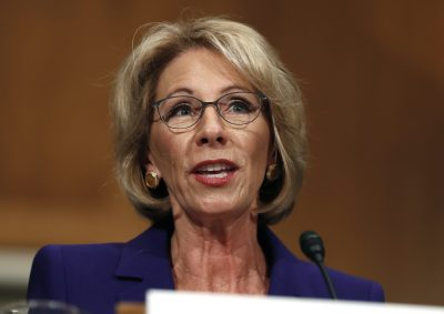 Betsy DeVos testifies at her confirmation hearing on Capitol Hill in January. (Carolyn Kaster/AP)