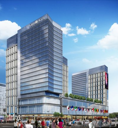 A $550 million Omni hotel will be built near the Boston Convention and Exhibition Center. The development, which will open in 2021, will have two 21-story towers and more than 1,000 hotel rooms.  (Courtesy Elkus Manfredi Architects)