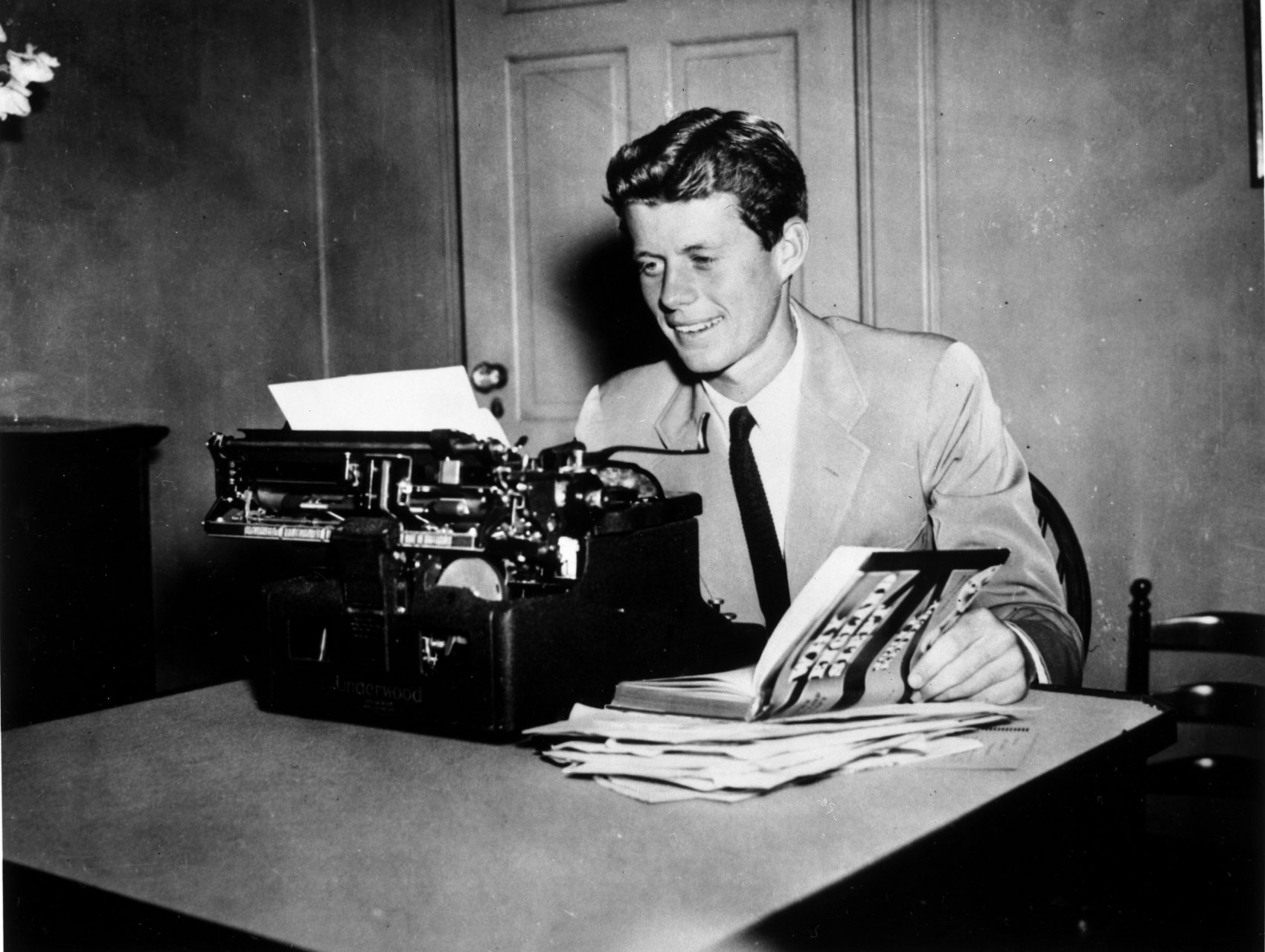 jfk years in office. John F. Kennedy At A Typewriter With His Book \ Jfk Years In Office