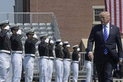President Donald Trump arrives to give the commencement address at the U.S. Coast Guard Academy in New London, Conn. (Susan Walsh/AP)