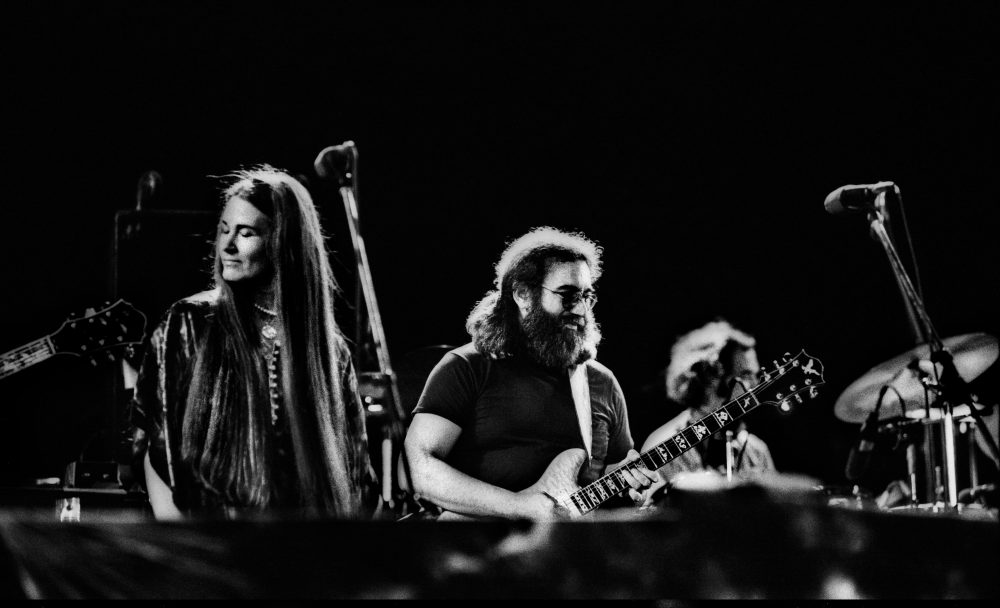 The Grateful Dead performing in Egypt 1978. Left to right: Donna Jean Godchaux, Jerry Garcia and Bill Kreutzmann. (Courtesy Amazon Prime Video)