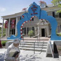 The entrance to The Amazing World of Dr. Seuss Museum, now open in the children's book author's hometown of Springfield. It features interactive exhibits, a collection of personal belongings and explains how the childhood experiences of the man, whose real name is Theodor Geisel, shaped his work. (Steven Senne/AP)