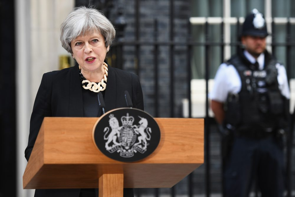 Britain's Prime Minister Theresa May addresses the media as she makes a statement, following a COBRA meeting in response to last night's London terror attack, at 10 Downing Street on June 4, 2017 in London. (Leon Neal/Getty Images)