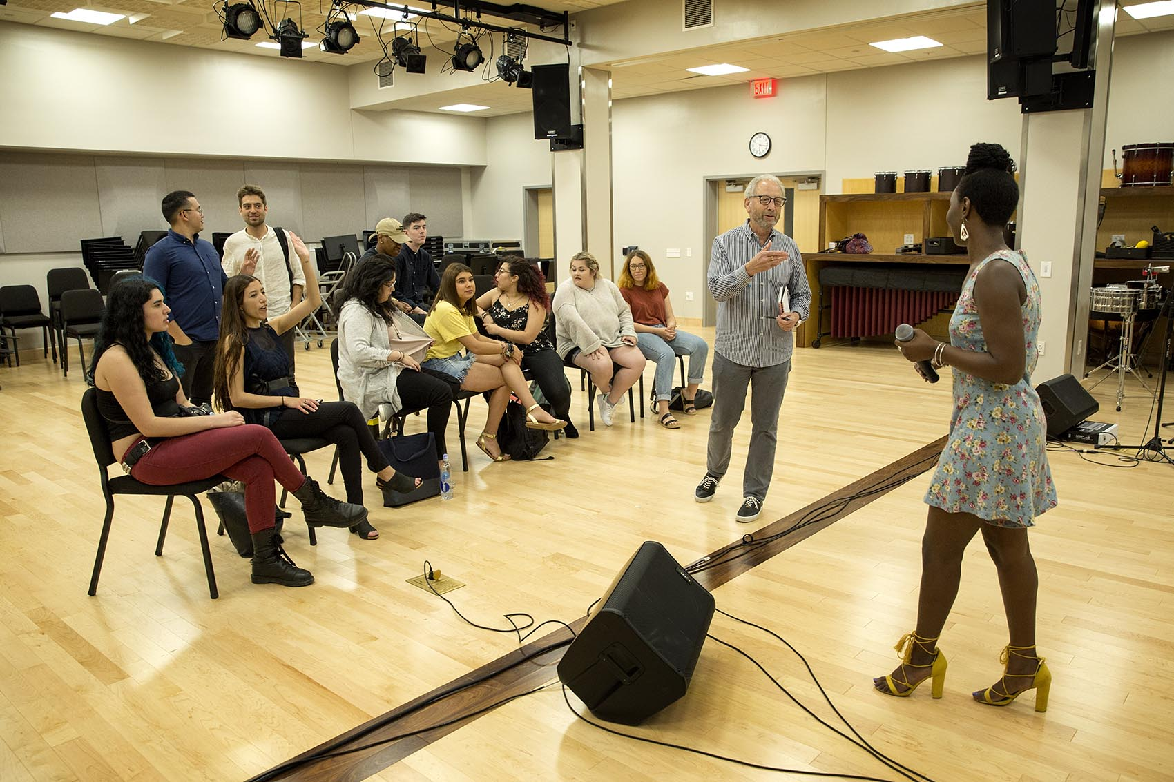 Professor Jeff Dorenfeld gives Berklee students lessons on what to expect in a festival performance environment. (Robin Lubbock/WBUR)