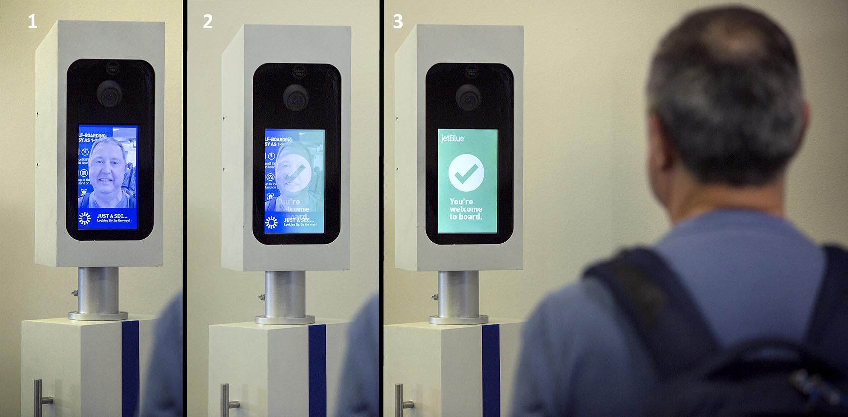 Three images, from left to right, show Charles Camiel completing his facial recognition test before boarding his JetBlue flight from Boston to Aruba. (Robin Lubbock/WBUR)