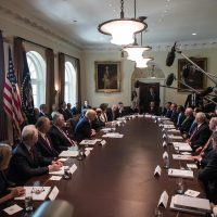 There are more than 1,100 positions in the U.S. government that require a president's nomination and Senate approval. Only 42 of President Trump's nominees have been approved. Pictured: President Trump (center) at a White House Cabinet meeting in June. (Nicholas Kamm/AFP/Getty Images)