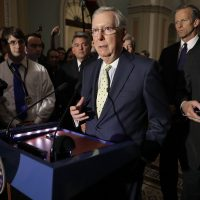 U.S. Senate Majority Leader Mitch McConnell (R-KY) (center) approaches the microphones before talking with reporters at the U.S. Capitol on June 20, 2017 in Washington, D.C. (Chip Somodevilla/Getty Images)
