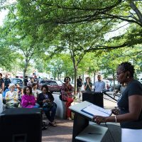 "Egleston Square Main Street's 2016 community reading of Frederick Douglass' ""What to the Slave is the Fourth of July.""  (Courtesy Leonardo March)"
