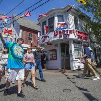 Changes Congress made to how the H-2B visa program works has left Cape Cod employers scrambling to find workers. The Lobster Pot, a landmark Provincetown restaurant, had to open a month late late due to uncertainty visas for its workers. (Jesse Costa/WBUR)
