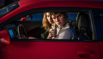 "Baby, played by Ansel Elgort, with Debora, played by Lily James, in ""Baby Driver."" (Courtesy Sony)"