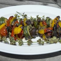 Kathy's grilled vegetable kebabs with chimichurri sauce. (Robin Lubbock/WBUR)