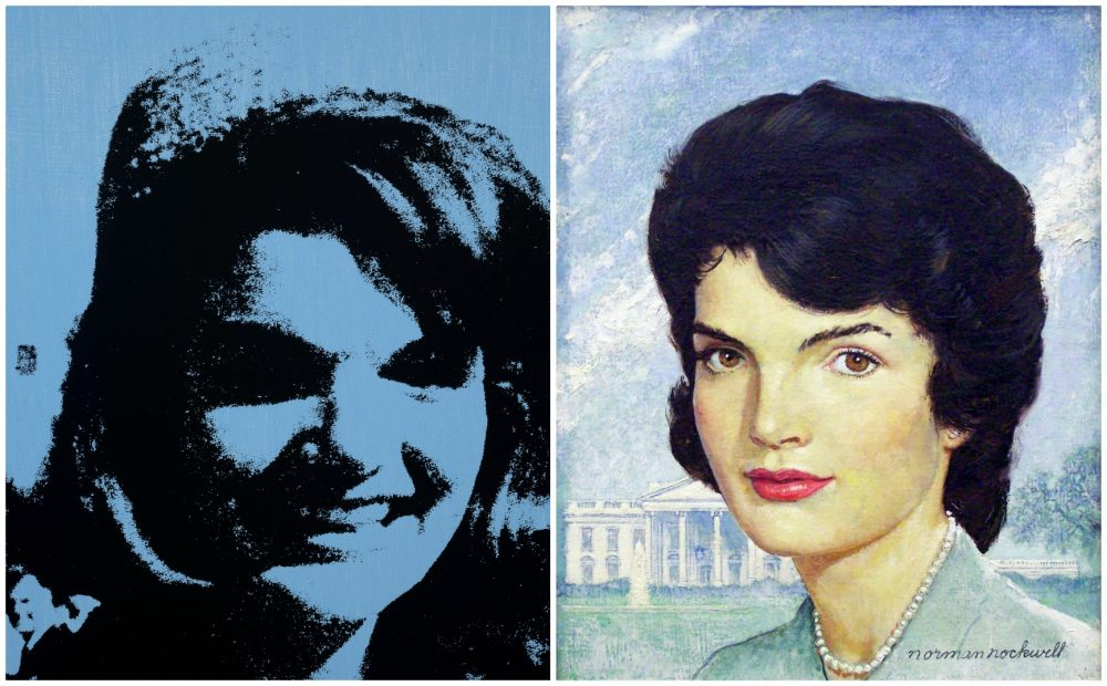 "Andy Warhol's silkscreen of ""Jackie, 1964,"" next to Norman Rockwell's oil portrait of Jackie Kennedy in 1963. (Courtesy Andy Warhol Foundation for the Visual Arts and the Collection of Mica and Richard Hadar)"