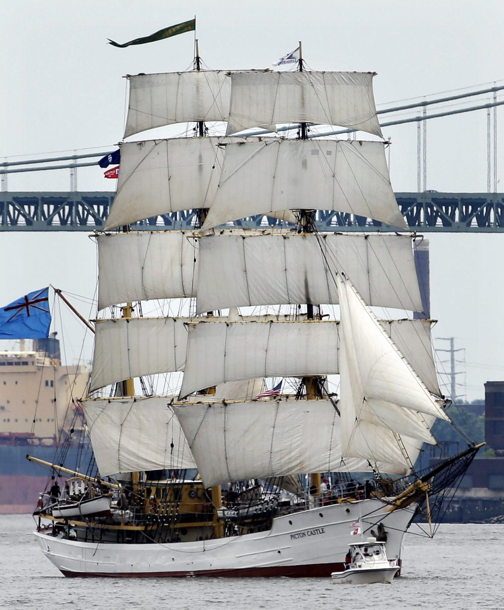 The Picton Castle sails up the Delaware River between Camden, N.J. and Philadelphia during a 2015 tall ships parade. (Matt Slocum/AP)