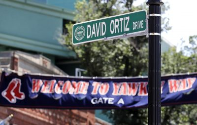 "A new ""David Ortiz Drive"" street sign is posted outside Fenway Park after a ceremony Thursday where part of Yawkey Way was renamed in the slugger's honor. (Charles Krupa/AP)"