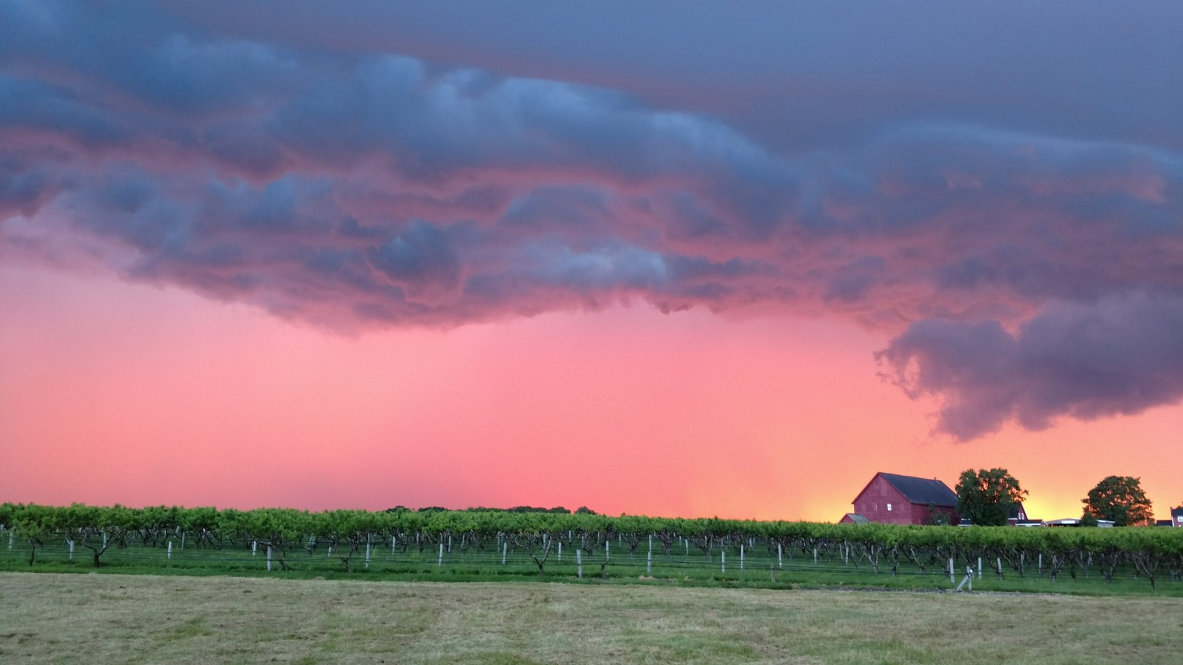 Thunderstorms move across Lookout Farm in South Natick Mass. on Tuesday evening