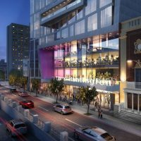 A rendering of the remodeled Huntington Theatre Company and the adjacent housing development. (Courtesy of Stantec)