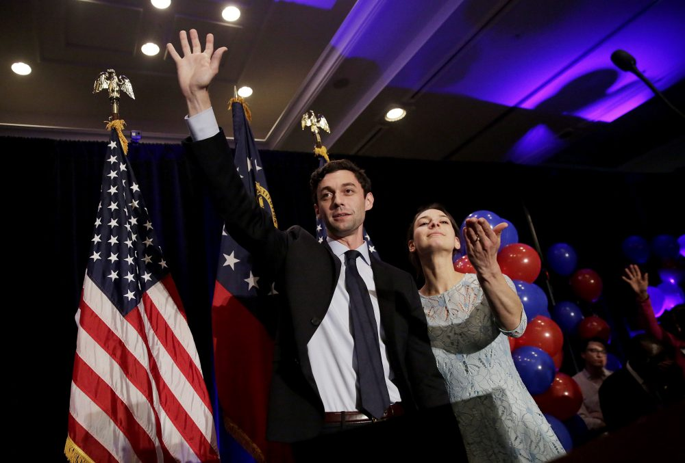Democratic candidate for 6th congressional district Jon Ossoff and his fiancee Alisha Kramer concede to Republican Karen Handel in Atlanta, June 20, 2017. (David Goldman/AP)