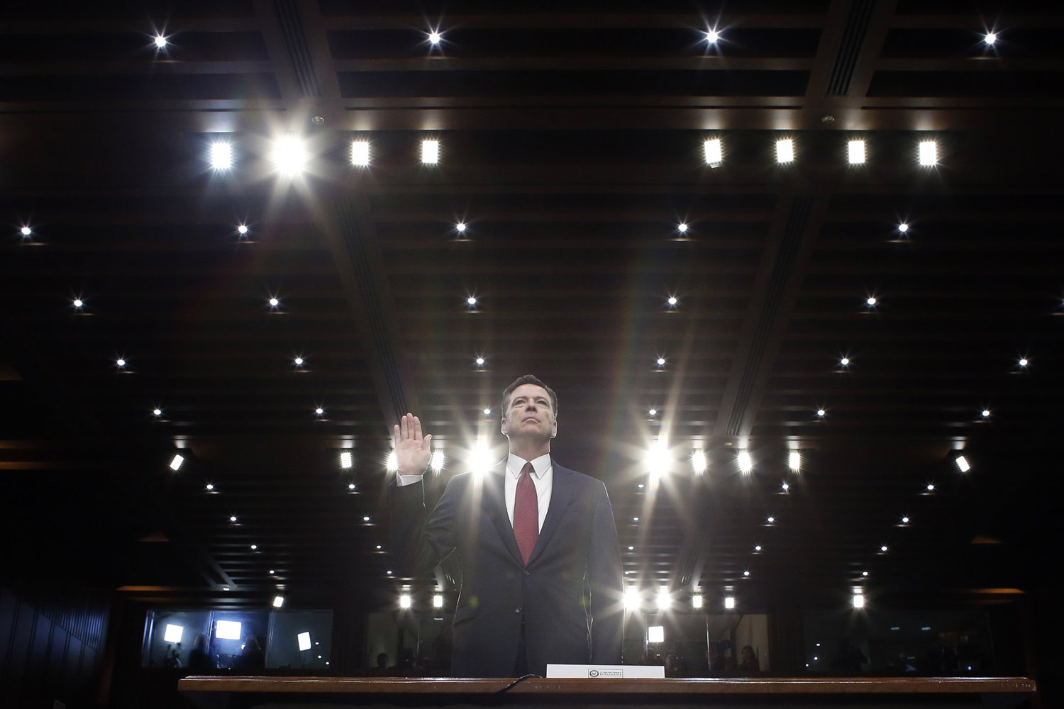 Former FBI director James Comey is sworn in during a Senate Intelligence Committee hearing on Capitol Hill, Thursday, June 8, 2017, in Washington. (Alex Brandon/AP)