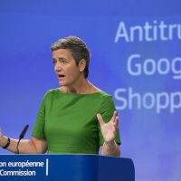 European Union Commissioner for Competition Margrethe Vestager speaks during a media conference at EU headquarters in Brussels on June 27, 2017. The European Union's competition watchdog has fined internet giant Google over its online shopping service. (Virginia Mayo/AP)