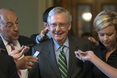 Senate Majority leader Mitch McConnell smiles as he leaves the chamber after announcing the release of the Republicans' healthcare bill which represents the party's long-awaited attempt to scuttle much of President Barack Obama's Affordable Care Act, at the Capitol in Washington, Thursday, June 22, 2017. (J. Scott Applewhite/AP)