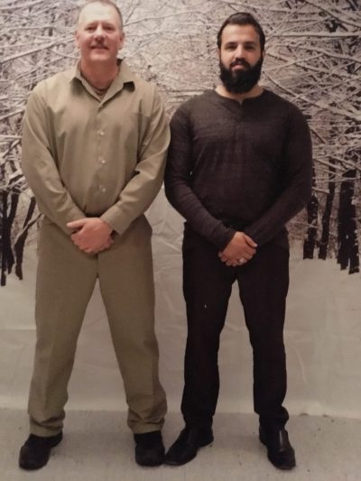 Zahir Mannan, right, visits Ted Hakey at the Federal Correctional Institution in Danbury, Conn. (Courtesy of Ted Hakey)