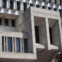 Boston City Hall is one of the buildings featured in the Brutalist Boston Map. (Jesse Costa/WBUR)