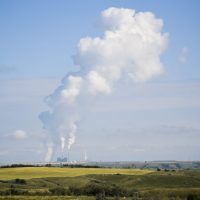 "Coal-fired power plants like this one in central North Dakota are located right next to mines. Efforts are underway here and in coal states across the country to develop ""clean coal"" technology. (Amy Sisk/Inside Energy)"
