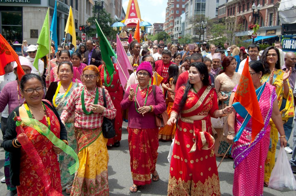 The Festival of Chariots — or Ratha Yatra. (Greg Cook/WBUR)