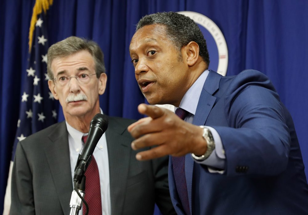 District of Columbia Attorney General Karl Racine, right, accompanied by Maryland Attorney General Brian Frosh, speaks during a news conference in Washington, Monday, June 12, 2017, to discuss the lawsuit they filed against President Donald Trump. (Alex Brandon/AP)