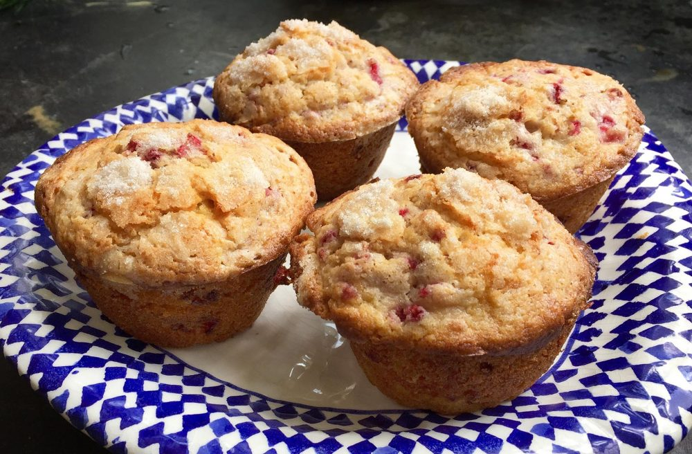 Kathy's raspberry-ginger muffins. (Kathy Gunst for Here & Now)