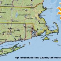 High temperatures on Friday. (Courtesy National Weather Service)
