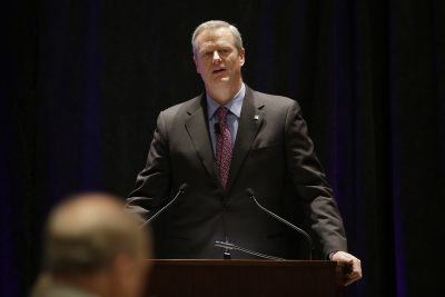 Massachusetts Republican Gov. Charlie Baker at the National Governor's Association meeting earlier in July in Providence, R.I. (Stephan Savoia/AP)