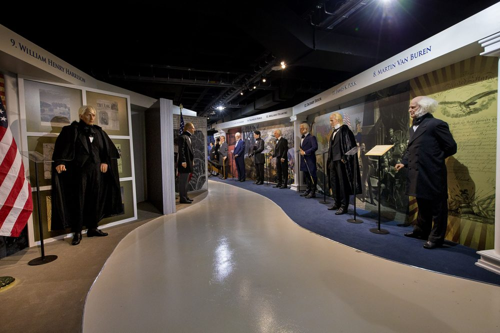 A hallway lined with 19th-century presidents. (Jesse Costa/WBUR)