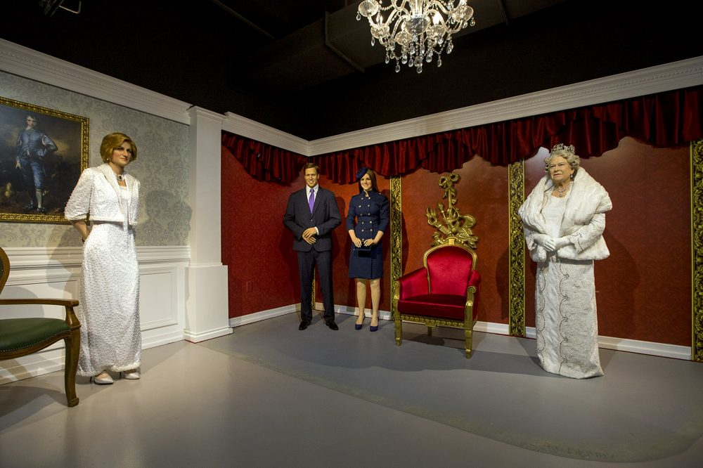 Past and present members of the British royal family, rendered in wax. (Jesse Costa/WBUR)
