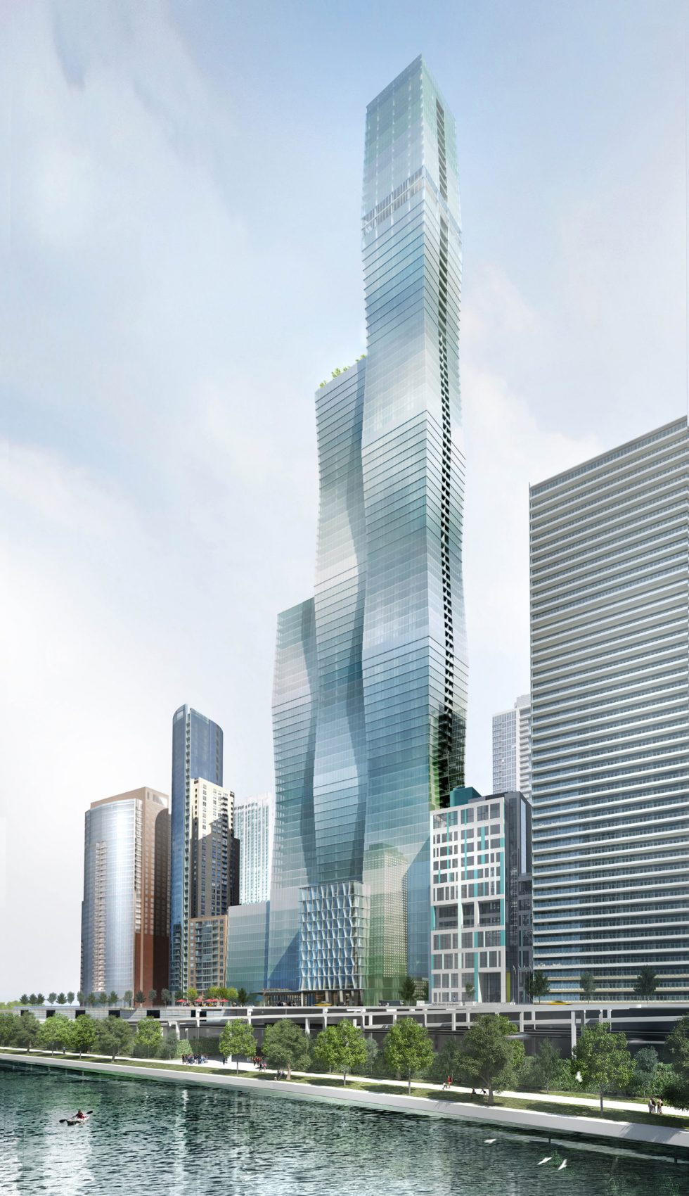 A rendering of the Vista Tower in Chicago. (Courtesy Studio Gang).