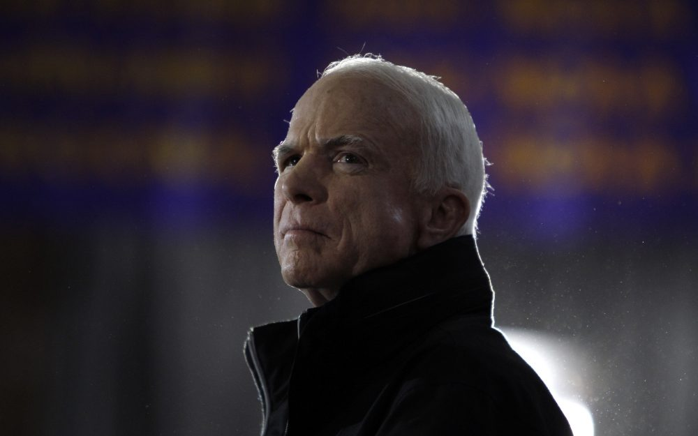 Republican presidential candidate Sen. John McCain, R-Ariz., waits as he is introduced to speak at a rally in Cedar Falls, Iowa, Sunday, Oct. 26, 2008. (Carolyn Kaster/ AP)