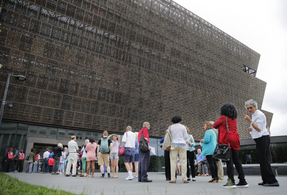In this May photo, people wait in line to enter the Smithsonian National Museum of African American History and Culture in Washington. Smithsonian Secretary David Skorton said in a statement that a noose was found May 31, in the Segregation Gallery of the museum. (Pablo Martinez Monsivais/AP)