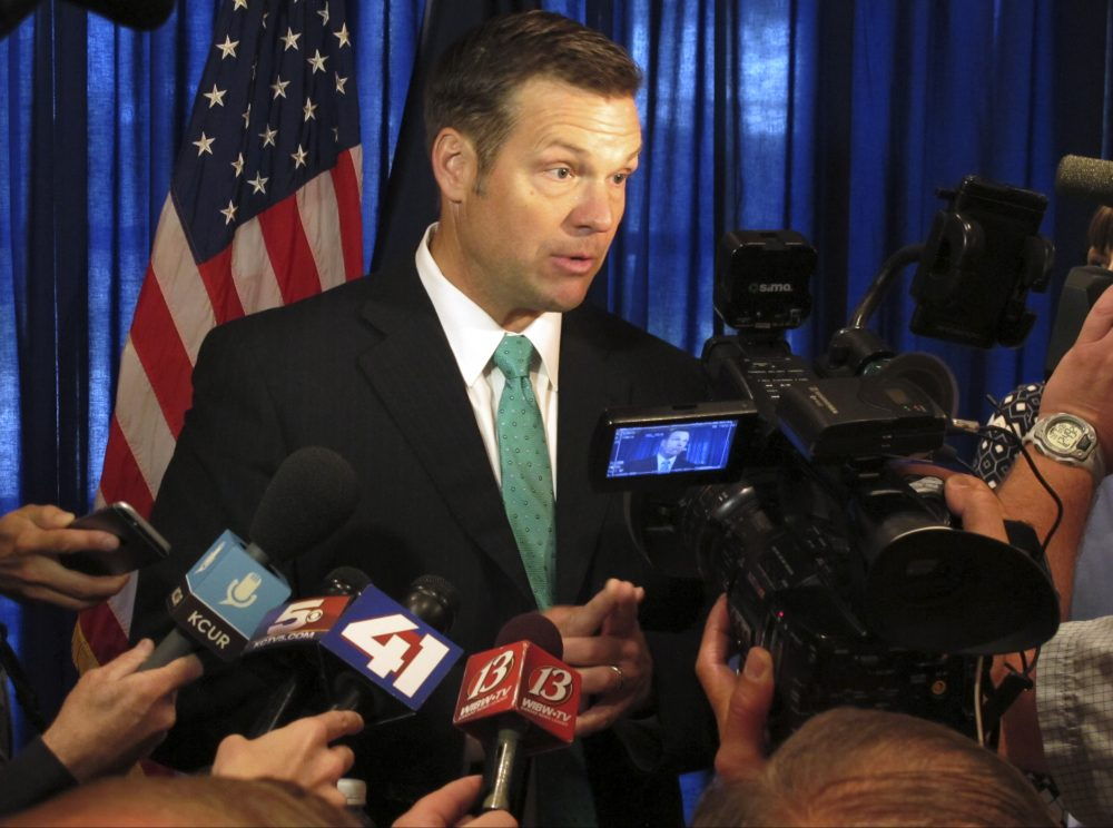 Kansas Secretary of State Kris Kobach speaks to the media on June 8, 2017, at an events center in Lenexa, Kan. Kobach is vice chairman of a presidential commission on voter fraud. (John Hanna/AP)